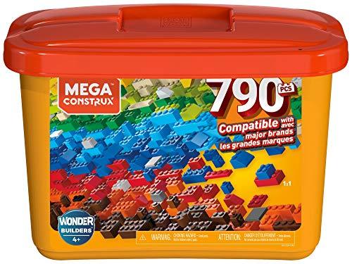 Mega construx secchiello arancione con 790 pezzi, compatibile con tutte le marche, giocattolo per bambini 4+ anni, gjd24