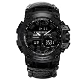 CCWL Sportuhr Herren Sportuhr Digital Analog Dual Watch Led Kompass Quarz Elektronische Uhr Wasserdicht Schwimmen Multi-Kinetic Outdoor Watch Schwarz