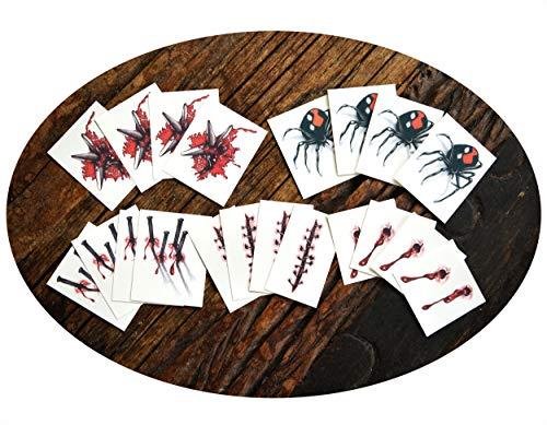 Tattoocrew® 20 x Halloween Tattoos Party Set Wunden Narben Spinne temporär zum Aufkleben