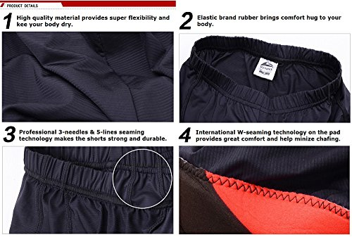 ALLY Ciclismo Mutande Gel 3D Imbottite Bicicletta Pants, Uomo Boxer Pantaloncini- M/L/XL/XXL/XXXL Opzionale