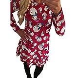 ZHRUI Weihnachten Kleid Frauen, Frauen Vintage Langarm Candy Schneeflocke Druck DressTea Cocktail Skater Flare Kleider (Farbe : Rot, Größe : S)