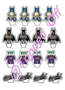 16 Lego Batman, Batgirl, Batmobile & Joker Essbare Kuchen-Deckel Dekoration