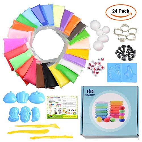 DIY Slime Kit Kinder Slime, EarthSave 24 bunte Fluffy Slime Set Flauschige Schleim Knete Leicht Formbare Knete Antistress Slime Spielzeug für Kinder zum Figuren basteln für Erwachsene Stress abbauen