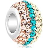 Pugster Damen-Beads Sale 925 Sterling Siber Gelb Blau Rosa Massive Kugel Für Pandora Charms