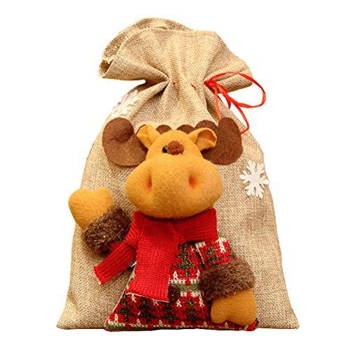 BESTOYARD Weihnachts Drawstring Gift Bag Elch Geschenkverpackung Weihnachts Goodies Bags Nette Weihnachtsbeutel-Zuhause-Party-Dekorationen für Das Einwickeln der Feriengeschenke