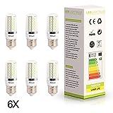 ELINKUME 6er-Pack E27 8W 120 SMD LED kaltweiß- 120 x 3014 SMD LED - Lampe Leuchtmittel Mais plus Blende - E27Sockel - AC220-240V - Ø32×93mm.