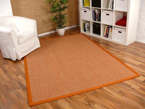 Sisal Astra Natur Teppich Orange Bordüre Orange in 16 Größen