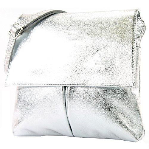 1 Silber-handtasche (modamoda de - T63 - ital Umhänge-/Schultertasche Nappaleder, Farbe:Silber)