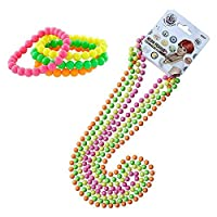 InnoBase 80s Accessories Party Fancy Dress Neon Multicolour Bead Necklaces and Neon Bracelets Set Plastic