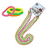InnoBase 80er Party Kleid Zubehör Kunststoff Neon Mehrfarbig Perlenkette Perlen Halsketten...