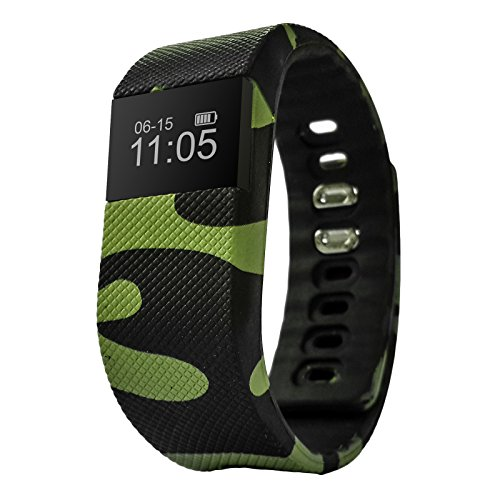 fbandz mil64 fitness band bluetooth watch w/ phone call alert exercise calorie monitor