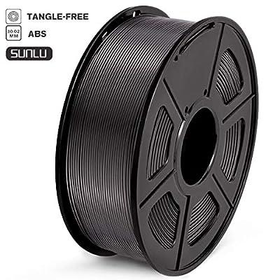 SUNLU Filament 1.75mm ABS 3D Drucker Filament ABS 1kg Spool (2.2lbs), Toleranz beim Durchmesser liegt bei +/- 0,02mm ABS Schwarz