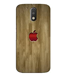 Citydreamz Red Apple Logo/Brown Wooden Finish Hard Polycarbonate Designer Back Case Cover For Motorola Moto G4 (4th Gen.)