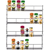 VonShef 4 Tier Spice Rack Chrome Plated for Herbs and Spices (Easy Fix) Suitable for Wall Mount or Inside Cupboard