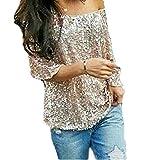 Fanessy Summer Damen Batwing T-Shirts Street Style Pailletten Lose Bluse Vintage Tops Damen Oberteile Hipster,Silber,XL/40