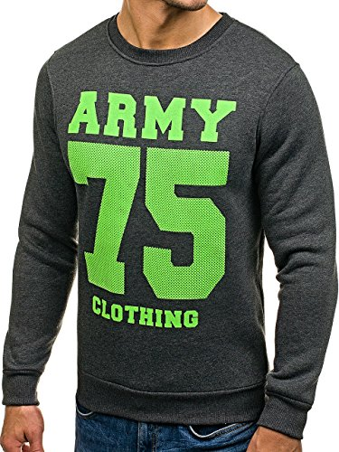BOLF Herren Sweatshirt Langarmshirt Pullover Pulli Army Classic 1A1 Motiv Anthrazit_0593