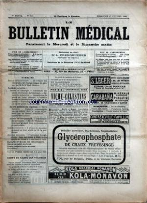 BULLETIN MEDICAL (LE) [No 14] du 17/02/1895 - REVUE THERAPEUTIQUE - PAUL CHERON - SOCIETE DE CHIRURGIE - SOCIETE MEDICALE DES HOPITAUX - SOCIETE DE THERAPEUTIQUE - LE PROF. HAYEM - HYGIENE PUBLIQUE - CORPS DE SANTE DES COLONIES