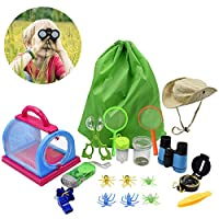 Acelane Outdoor Explore Kit Toys Bug Catcher Kits with Binocular Compass Flashlight Magnifying Glass Critter Case and Butterfly Net Tools Children Kids Birthday Festival Gift