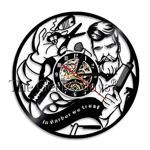 YLNEW Friseur Zeichen Wand Dekorative Uhr Schnurrbart Gentleman Friseur Toolkit Vintage Vinyl Record Wanduhr Friseur Geschenke