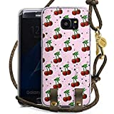 DeinDesign Samsung Galaxy S7 Edge Carry Case Hülle zum Umhängen Handyhülle mit Kette Kirschen Pattern Muster