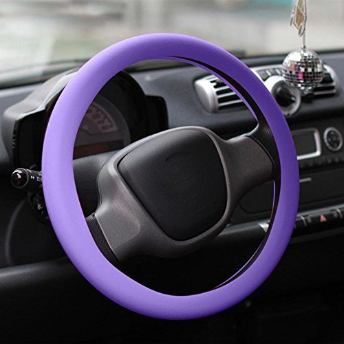 CALISTOUK 1Pcs Excellent Silicone Leather Car Auto Steering Wheel Glove Fluorescent Green
