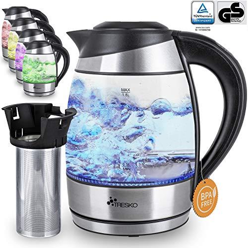 TRESKO Bouilloire électrique en cristal 1.8 L avec infuseur à thé et filtre à eau | Illumination LED | Certification TÜV-Rheinland | 2200W | Température réglable | Fonction de Maintien au Chaud