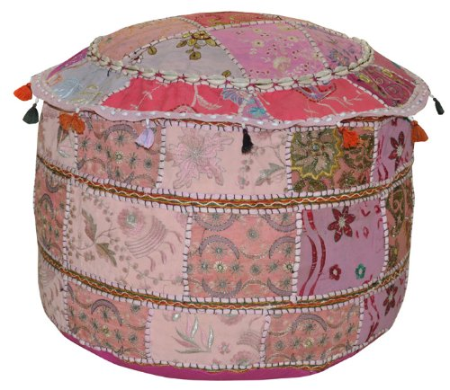 Lalhaveli Patchwork Zari Embroidered Cotton Ottoman Cover 14 X 22 X 22 Inches