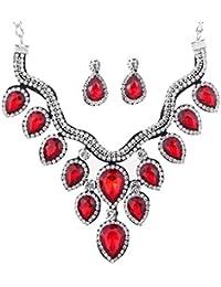 6ad78519f552 YAZILIND Lágrima Nupcial Pendiente cuelgan Collar Gargantilla Cristal Rojo  joyería Plateada de Plata fijó ...