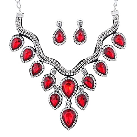 Yazilind Silver Plated Red Crystal Teardrop Bridal Choker Necklace Dangle Earring Jewelry Set for Women