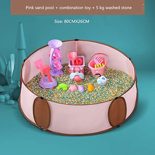 ZZHK Kinder Faltbarer Zaun/Meeresbälle, Sandbecken + Kombi-Spielzeug + 5 kg gewaschener Stein drinnen und draußen, Rose, 7 -