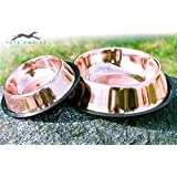Pets Empire Dog Bowl – Bronze Rose Copper Cat Food Water Bowl – Dishwasher Safe & Won't Rust Or Corrode – No Tip Pet Feeder Prevents From Sliding Around Floor And Food Flying All Over The Place -700 ML