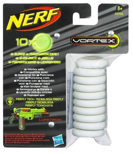 Hasbro 39756148 - Nerf Vortex Glow in the Dark Disc Nachfüllpack (Nerf Disc)