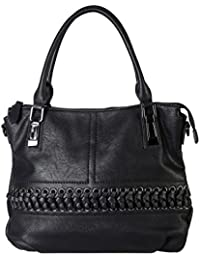 Diophy PU Leather Laced-Front Tote Womens Purse Handbag Accented With Removable Strap CZ-1600