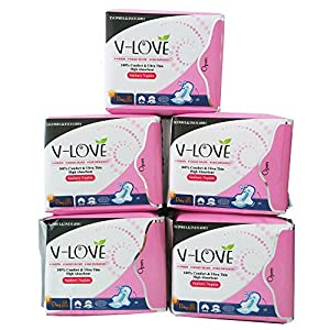 VLOVE Normal Minus ion(Anion) Sanitary Towels Cotton with Wings 5Packs of 10(50Pads)