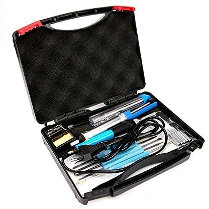 Kit del Soldador – Luxebell 17 Piezas 60W 220V soldador temperatura ajustable, Puntas Diferentes, Pinzas y Maletín,Bomba Desoldadora Soporte y Cable de Soldadura de estaño