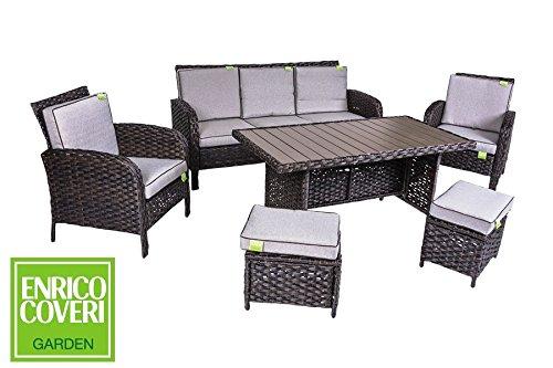 Enrico coveri salotto completo marrone per arredamento giardino, set sofà composto da tavolo rettangolare + 2 poltrone + 2 pouf + divano 3 posti in acciaio e polyrattan per arredamento esterno