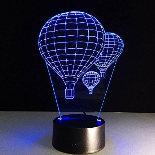 Lonshi 3D sieben-Farben USB Touch Licht LED Nachtlicht Ballon Heißluft stereoskopische Tischlampe Geschenk Brauch