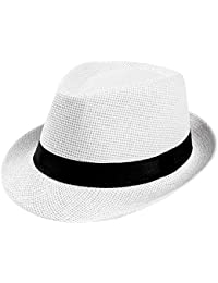 33ba22ac7f6 Fedora Trilby Hats, Beach Sun Straw Hat with Band, Womens Mens Panama Caps,