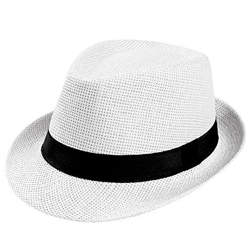 VRTUR Unisex Sonnenhut Trilby Gangster Deckel Strand Sonne Stroh Hut Band Hut Caps Mütze