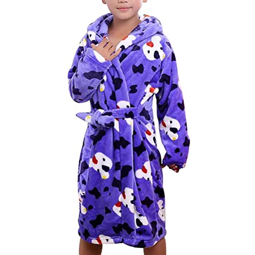 Zhhlaixing Winter Thicken Childrens Flannel Dressing Gown Soft Robes Pigiama Sea Blue