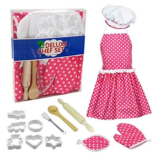 Mädchen Koch Kostüm Kleines - Komplette Kinder Kochen und Backen Set Rollenspiel Küche beinhaltet Schürze für kleine Mädchen Kochmütze für Kleinkinder Dress Up Koch Kostüm Karriere Rollenspiel Perfekte Geschenke