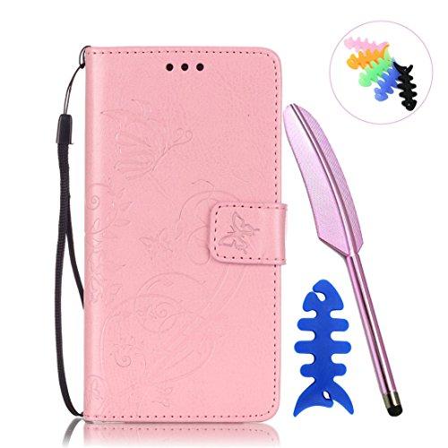 ANNN® HUAWEI P9 Case Cover -- Prägung Schmetterling PU Leder Flip Wallet Schutzhülle mit Magnetverschluss - Bookstyle Hülle mit Standfunktion und Kartenfach als stabiler Schutz--A01