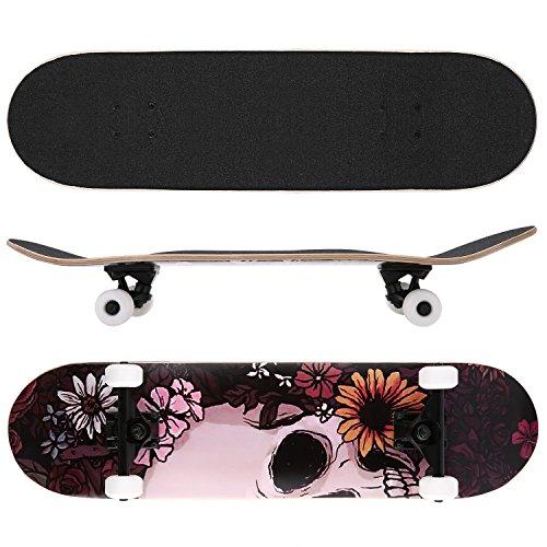 Ancheer Skateboard Funboard besonders für Jugendliche und Liebespaar 4 Muster wählbar feines Design 7-lagigem Ahornholz inkl. Tragetasche T-Schraubenschlüssel Räder Holzboard Longboard beliebt komplett Board