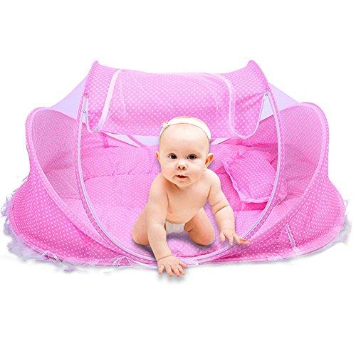 SINOTOP Baby Mosquito Ded tragbar für Reisen, Baby Bett Falten Baby Krippe Moskitonetz Portable Baby Kinderbetten für 0-18 Monat Baby (Rosa) - Baby-krippe Eine