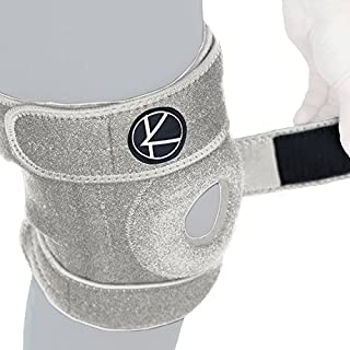 Adjustable Knee Brace Support for Arthritis, ACL, MCL, LCL, Sports Exercise, Meniscus Tear, Injury Recovery, Pain Relief, Walking–Open Patella Neoprene Stabilizer Wrap for Women,Men,Kids (Grey,Size 1)