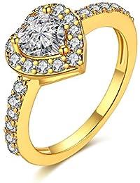 Missrui Love Heart Cut Clear Zircon Wedding Band Ring Engagement Promise Bridal