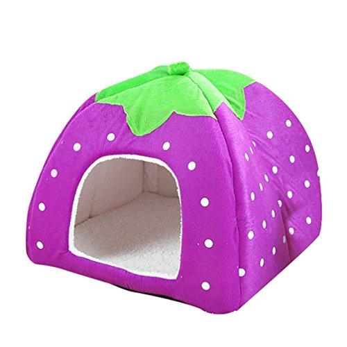 JEELINBORE Weiche Haustier Erdbeeren Schlafsack Hundehütte Katzenhöhle Hund Katze Haus Kuschelhöhle Körbchen (Violett, L: 36 * 36 * 38cm)