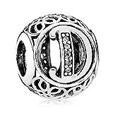 Die besten Z & T Charm Bracelets - Lily Jewelry Vintage Buchstabe A-Z CLEAR CZ 925Sterlingsilber Bewertungen