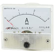 Carcasa de plástico DC 0-3A Panel analógico amperímetro w instalación tornillos