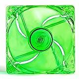 PC-Gehäuse-/Prozessor-Kühler, 120mm, 4 x grüne LED, transparente, klare Blätter, mit 3-Pin Motherboard/4-Pin Molex-Stecker/4x Schrauben enthalten
